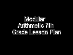Modular  Arithmetic 7th Grade Lesson Plan