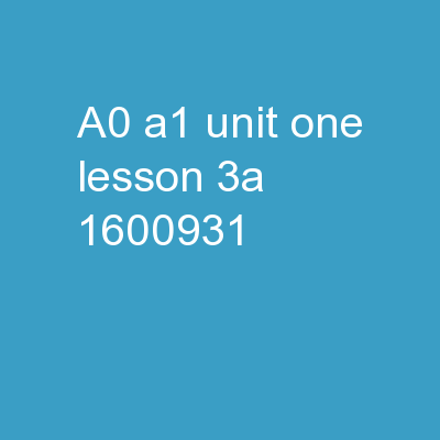 A0-A1 Unit One Lesson 3A