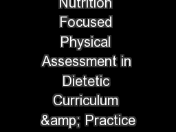 Nutrition Focused Physical Assessment in Dietetic Curriculum & Practice