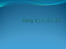 Geography of Asia Essential Question
