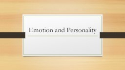 Emotion and Personality Warm Up