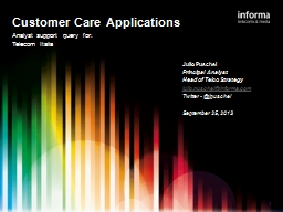 1 Customer Care Applications PowerPoint PPT Presentation