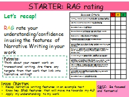 STARTER: RAG rating Let's recap!
