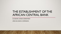 the  establishment of the African Central Bank