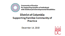 District of Columbia  Supporting Families Community of Practice