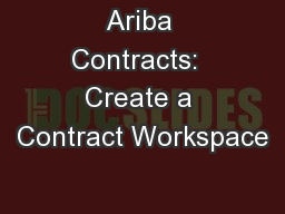 Ariba Contracts:  Create a Contract Workspace