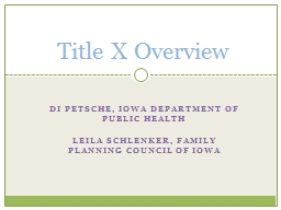Di Petsche, Iowa Department of Public Health