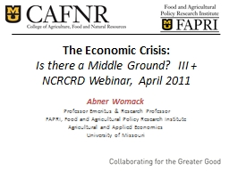 The Economic Crisis: Is there a Middle Ground?  III