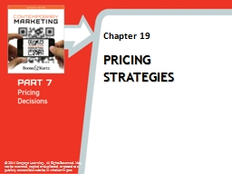 Pricing Strategies 1 Objectives