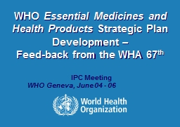 WHO  Essential Medicines and Health Products