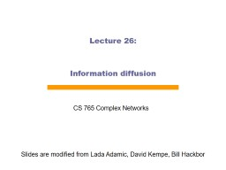 Lecture  26: Information diffusion