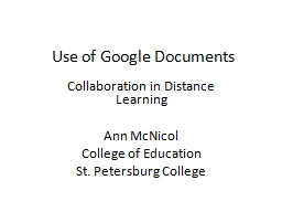 Use of Google Documents Collaboration in Distance Learning