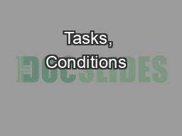 Tasks, Conditions  & Standards packet