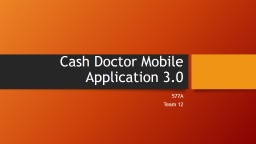 Cash Doctor Mobile Application 3.0