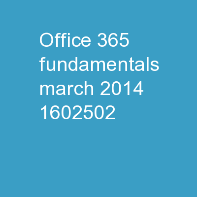 Office 365 Fundamentals March 2014