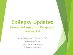 Epilepsy Updates Newer Antiepileptic Drugs and Rescue Aid