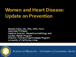 Women and Heart Disease:  Update on Prevention