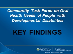 Community Task Force on Oral Health Needs of People with Developmental
