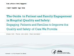 The Guide to Patient and Family Engagement