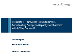 SESSION 3 � CAPACITY REMUNERATION