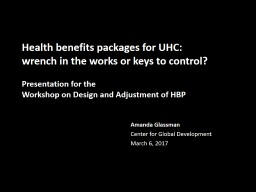 Health benefits packages for UHC: