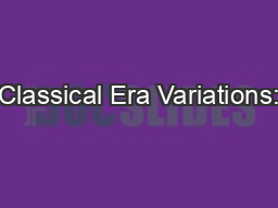 Classical Era Variations: