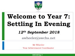 Welcome to Year 7: Settling In Evening