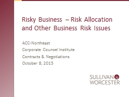 Risky Business � Risk Allocation and Other Business Risk Issues