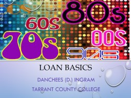 Loan Basics Danchees (D.) Ingram