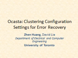 Ocasta: Clustering Configuration Settings for Error Recovery