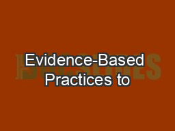 Evidence-Based Practices to