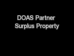 DOAS Partner Surplus Property