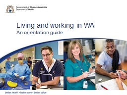 Living and working in WA
