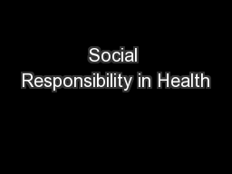 Social Responsibility in Health