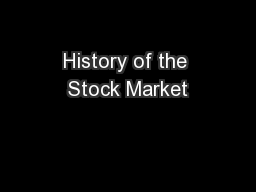 History of the Stock Market
