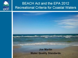 BEACH Act and the EPA 2012 Recreational Criteria for Coastal Waters