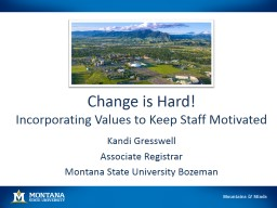 Change is Hard! Incorporating Values to Keep Staff Motivated