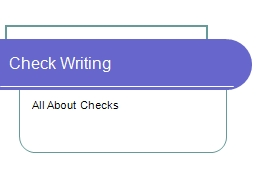 Check Writing All About Checks