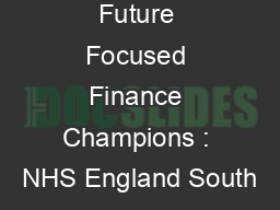 Future Focused Finance Champions : NHS England South