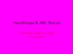 Handshape & ABC Stories