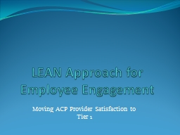 LEAN Approach for Employee Engagement