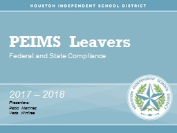 PEIMS Leavers Federal and State Compliance