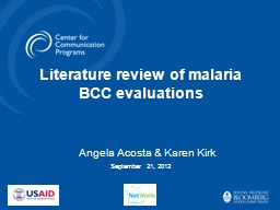Literature review of malaria BCC evaluations