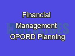Financial Management OPORD Planning