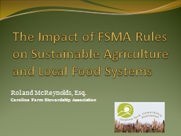 The  Impact of FSMA Rules on