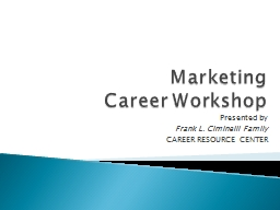 Marketing Career Workshop