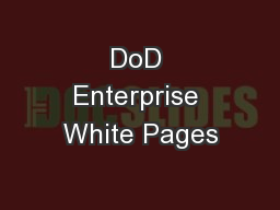 DoD Enterprise White Pages