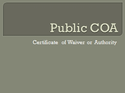 Public COA Certificate of Waiver or Authority