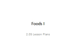 Foods I 2.05 Lesson Plans