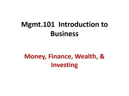 Mgmt.101  Introduction to Business